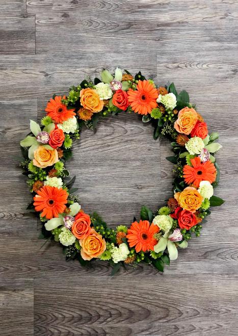 Memorial Wreath in Tropical Oranges