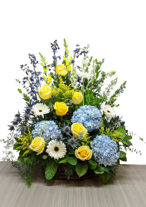 Fresh Sympathy Basket Blue & Golds