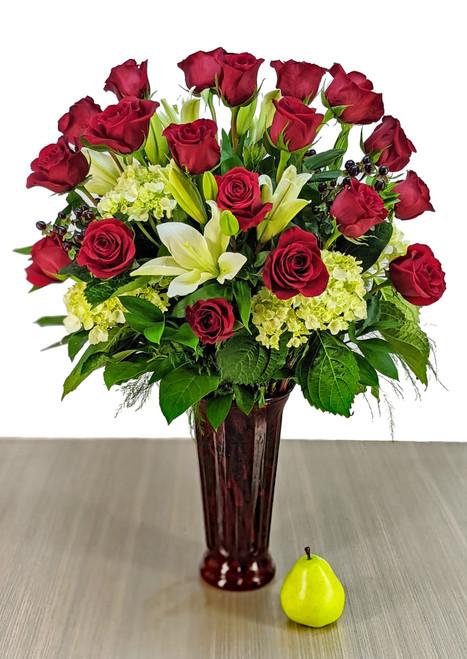 """the """"Premium"""" 18 Red Rose Vase Arrangement"""