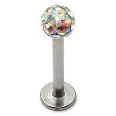 Titanium Labret with Smooth Glitzy Ball