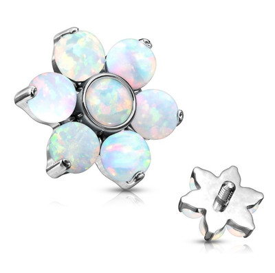 opal flower threaded attachment for nose and lip piercings