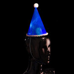 Flashing Party Hat Blue 6 Pack