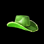 Green Light Up Cowboy Hat