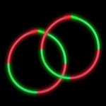 "22"" Red/Green Premium Bi-Color Glow Necklaces (50 Pack)"