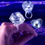 White LED Diamond Bling Rings Assorted Shapes (24-Pack)