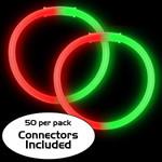 "8"" Red/Green Bi-Color Glow Bracelet (50 Pack)"