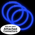 """8"""" Premium Glow Bracelets - Blue (100-Pack) with Pre-Attached Connectors"""
