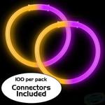 "8"" Bi-Color Glow Bracelet Purple/Orange (100-Pack)"