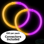 "8"" Purple/Orange Bi-Color Glow Bracelet (100 Pack)"