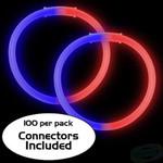 """8""""Red/Blue Bi-Color Glow Bracelet (100 Pack)"""