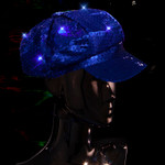 Blue LED Light Up Newsboy Hat