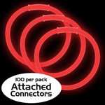 """8"""" Premium Glow Bracelets - Red (100-Pack) with Pre-Attached Connectors"""