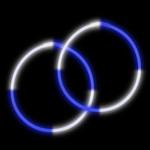 """22"""" Blue/White  Premium Bi-Color Glow Necklaces (50 Pack)"""