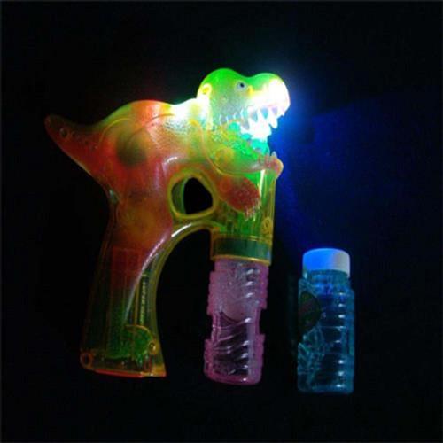 Flashing Dinosaur Bubble Gun- 2 Bottles