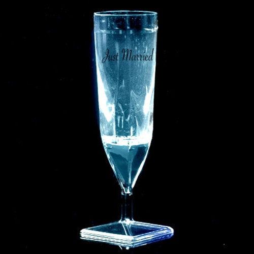 Liquid Activated Light-Up Champagne Flutes: White- Just Married