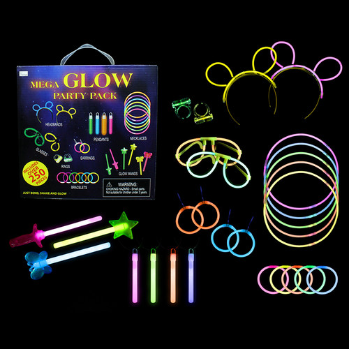 250 pc Glow Mega Party Gift Box Pack
