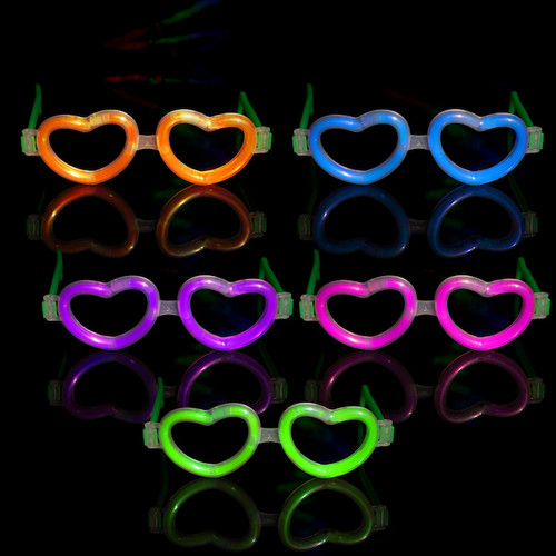 Assorted Glow Heart Shaped Glasses (12 Pack)