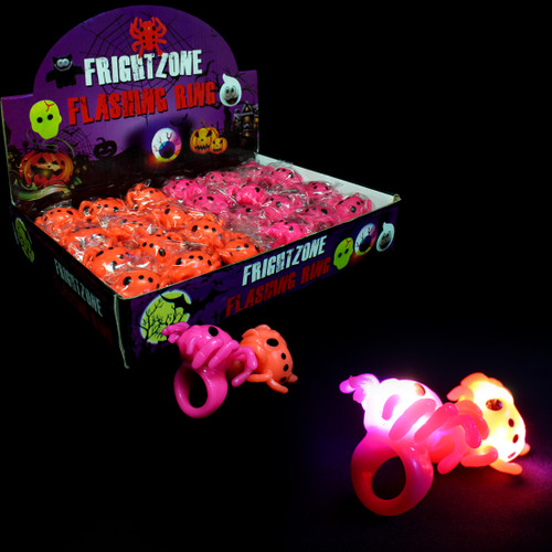 Assorted Light Up 3D Spider Jelly Ring (24 Pack)