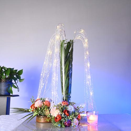 LED Sequin floral centerpiece decor - White