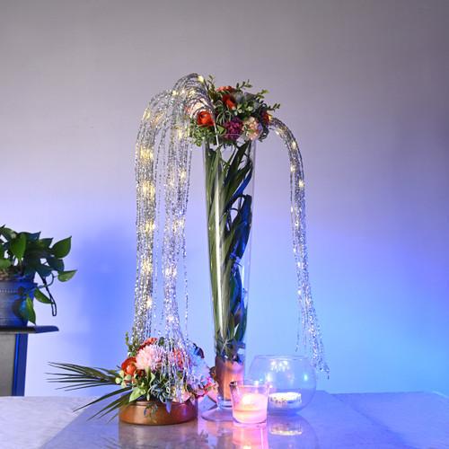 LED Sequin floral centerpiece decor - Silver
