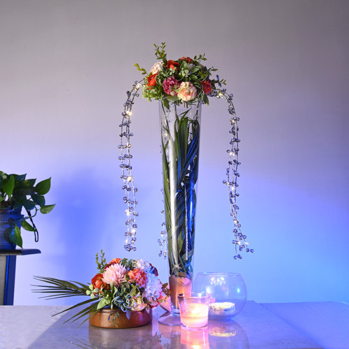 LED Draping Bead Floral Centerpiece - Silver