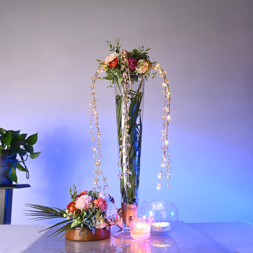 LED Draping Bead Floral Centerpiece - Champagne