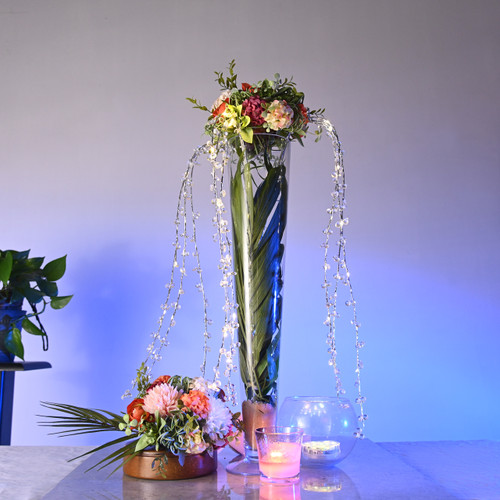 LED Draping Bead Floral Centerpiece - White