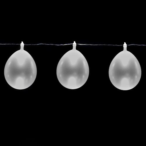 LED Balloon String Lights - 13 feet/10 Balloons - Silver