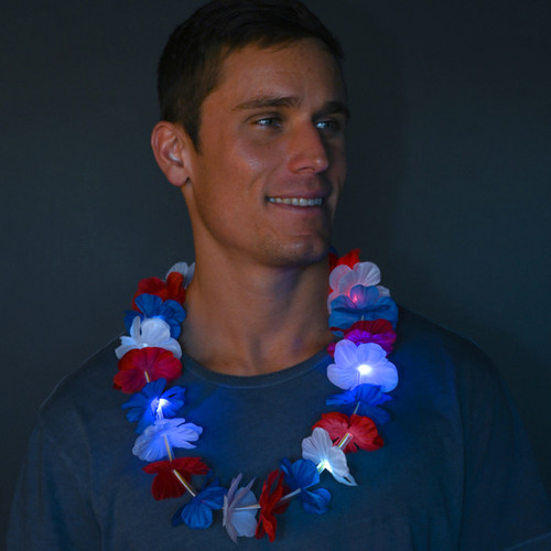 Red White and Blue LED Lei