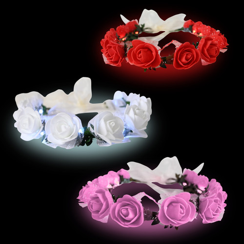 LED Rosebud Flower Crown (3 Pack)