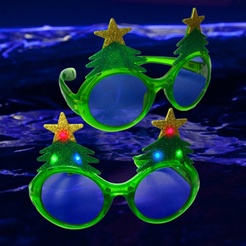 Green LED Christmas Tree Glasses