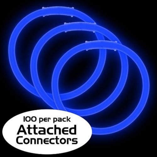 "8"" Blue Premium Glow Bracelets (100 Pack)"