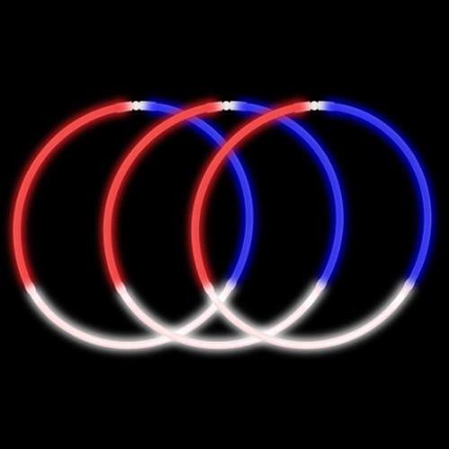 """22"""" RWB Premium Tri-Color Glow Necklaces (50 Pack)"""