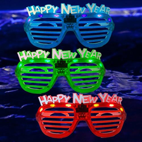 Blue Happy New Year Shutter Glasses