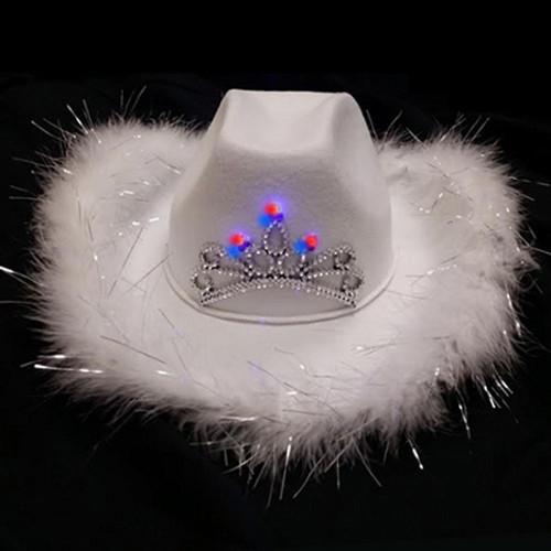 LED Premium Cowboy Hat - White