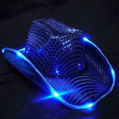 Blue Light Up Cowboy Hat