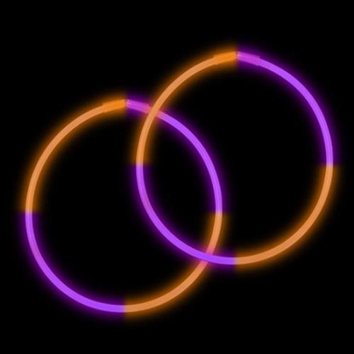 "22"" Purple/Orange Premium Bi-Color Glow Necklaces (50 Pack)"