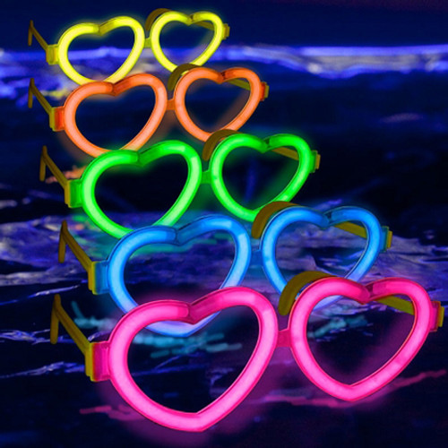 Yellow Glow Heart Shaped Glasses (12 Pack)