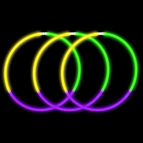 """22"""" Green/Yellow/Purple  Premium Tri-Color Glow Necklaces (50 Pack)"""