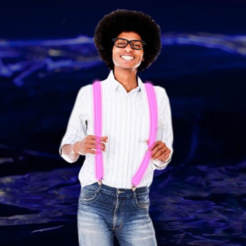 LED Light Up Suspenders: Pink