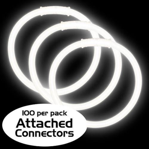 "8"" White Premium Glow Bracelets (100 Pack)"