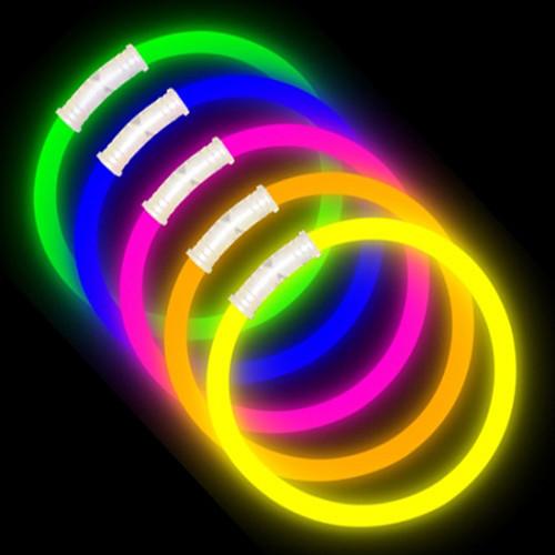 "8"" Premium Glow Bracelets (100-Pack) with Pre-Attached Connectors - Assorted Colors"