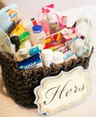 DIY Reception Bathroom Baskets