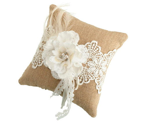 Rustic Country Vintage Style Wedding Ceremony Ring Pillow with Hessian Burlap and Lace