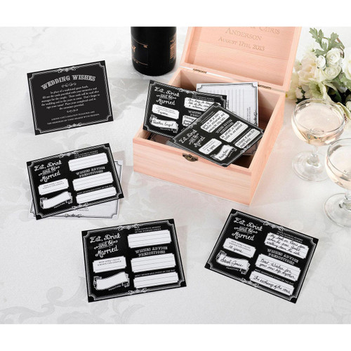 Black Wedding Wishes Cards Alternative Guest Book Reception Decor Ideas