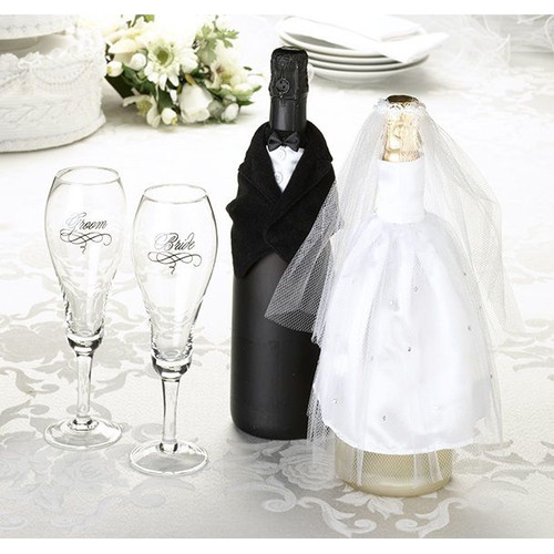Wedding Bride and Groom Wine Bottle Reception Centrepiece Table Decorations