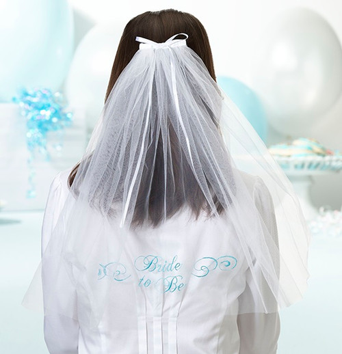 Wedding Embroidered Bride to Be Veil Bridal Shower Accessory
