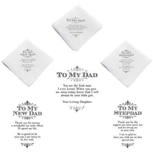 Father of the Bride Gift To My Dad or New Stepdad Wedding Handkerchief