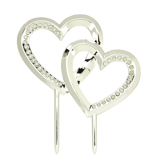 Wedding Silver Heart Cake Topper Reception Decoration