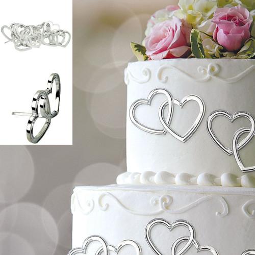 Silver Heart Wedding Cake Pick Decorations